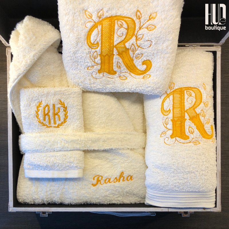 4 piece custom embroidered bath robe and towel set-3243