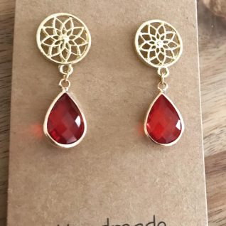 Ruby Red Earrings-0