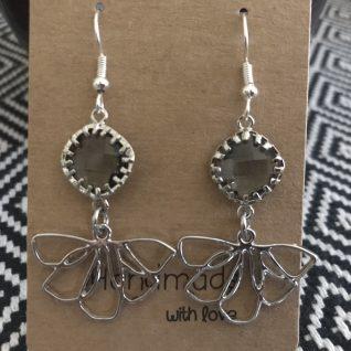 Grey Flower Earrings-0