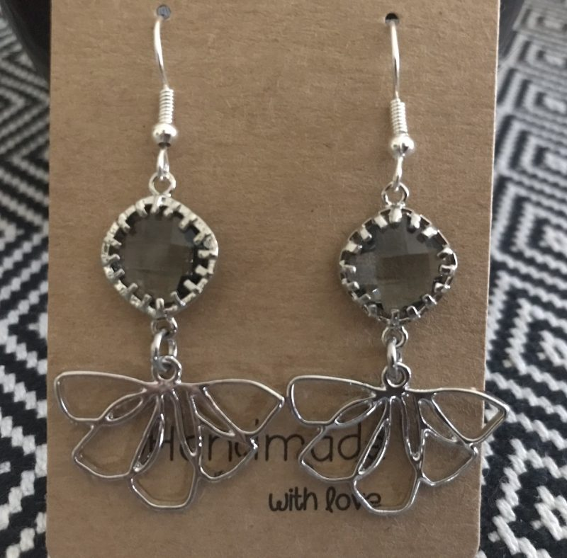 Grey Flower Earrings-0