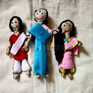 Set of 3 - Handcrafted felt Dolls-0