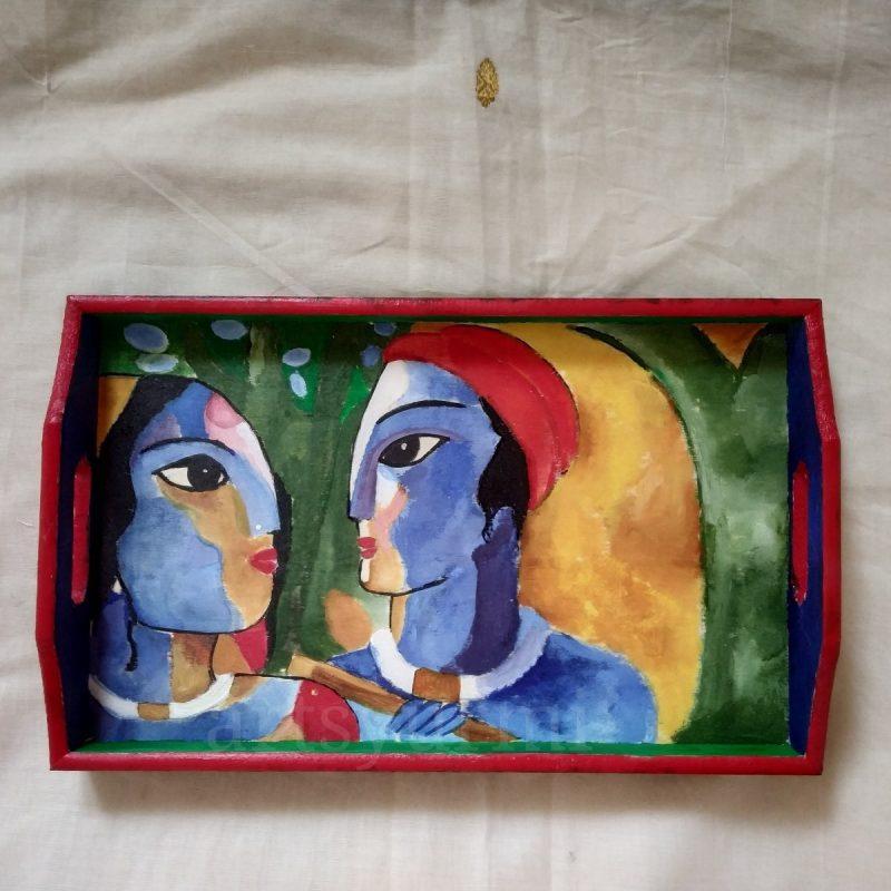 Radha Krishna Handpainted tray-0