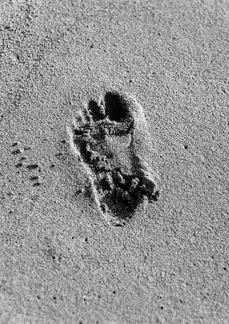 Black and white framed beach photograph-0