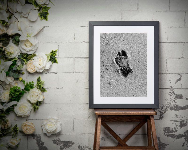 Black and white framed beach photograph-4248