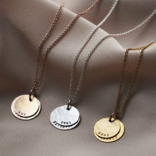 Personalised Hammered Family Disc Necklace -0