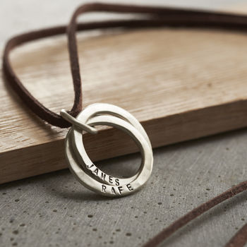 Personalised Men's Silver Interlinking Hoops Necklace-3573