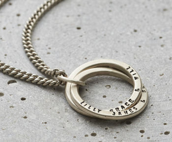 Personalised Men's Silver Interlocking Ring Necklace-3471