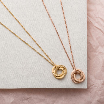 Personalised Micro Satin Hammered Russian Ring Necklace-3374