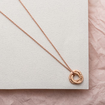 Personalised Micro Satin Hammered Russian Ring Necklace-3375