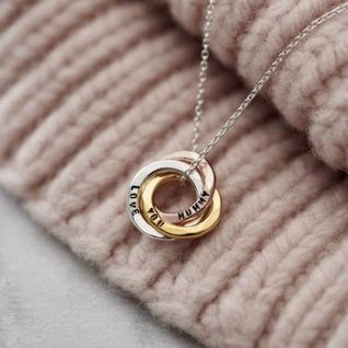 Personalised Mixed Gold Mini Russian Ring Necklace -0