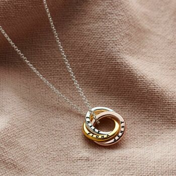 Personalised Mixed Gold Mini Russian Ring Necklace -3614