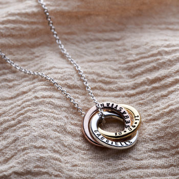 Personalised Mixed Gold Mini Russian Ring Necklace -3615