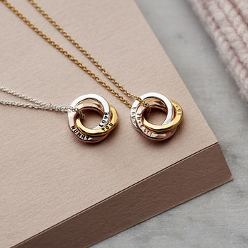 Personalised Mixed Gold Mini Russian Ring Necklace -3619