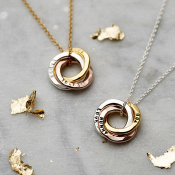 Personalised Mixed Gold Mini Russian Ring Necklace -3621