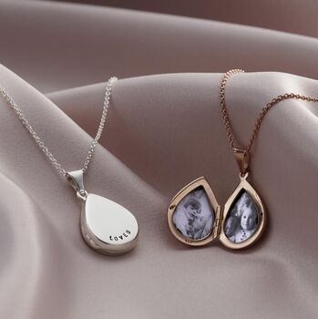 Personalised Small Droplet Locket Necklace -0