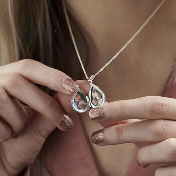 Personalised Small Droplet Locket Necklace -4141