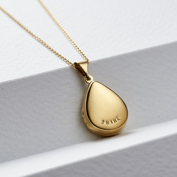 Personalised Small Droplet Locket Necklace -4144