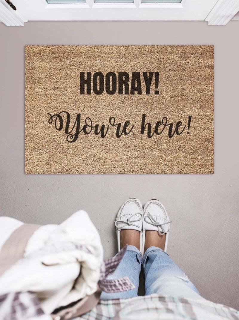 Doormat - Hooray you're here-0