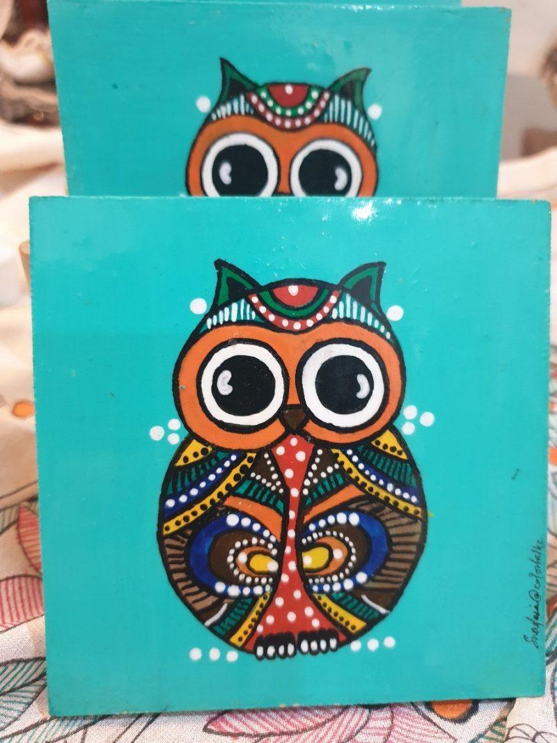 Owl Turquoise Coasters -0