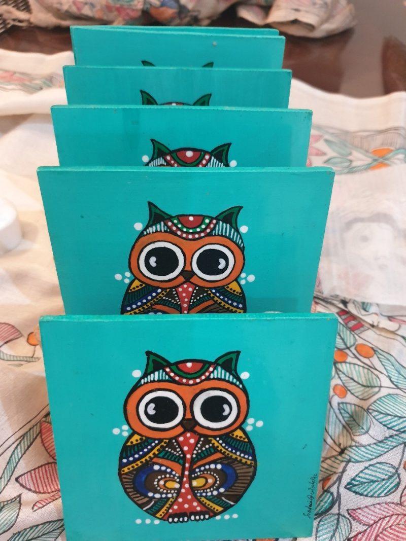 Owl Turquoise Coasters -4840