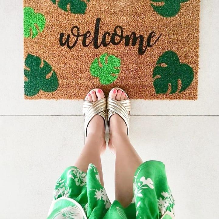 Doormat - Welcome green leaves -0