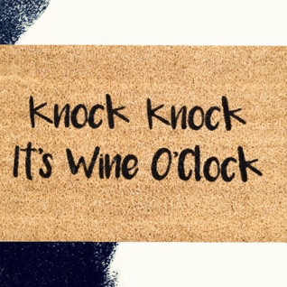 Doormat - Knock knock it's wine o'clock-0