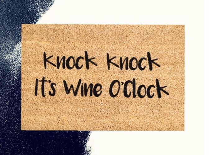 Doormat - Knock knock it's wine o'clock-0